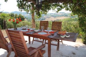 Heerlijk eten onder de pergola | Vakantiewoning Casa Cipresse